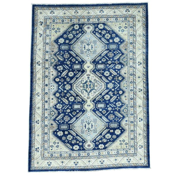 Shiraz Oriental Hand-Knotted Blue Area Rug by Bloomsbury Market