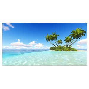 Corals Island under Blue Sky Seashore Photographic Print on Wrapped Canvas by Design Art