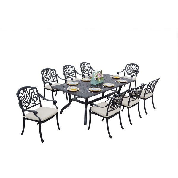 Laszlo 9 Piece Dining Set with Cushions by Darby Home Co