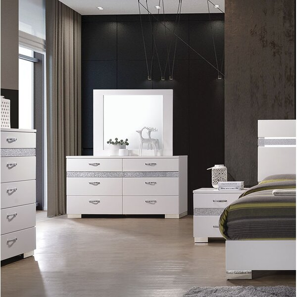 Lauer 6 Drawer Double dresser with Mirror by Everly Quinn