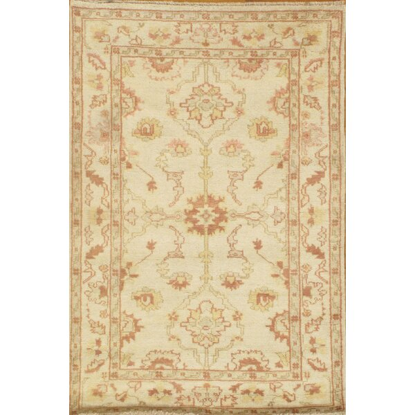 Genuine Oushak Design Hand-Knotted Wool Ivory Are Rug by Pasargad NY