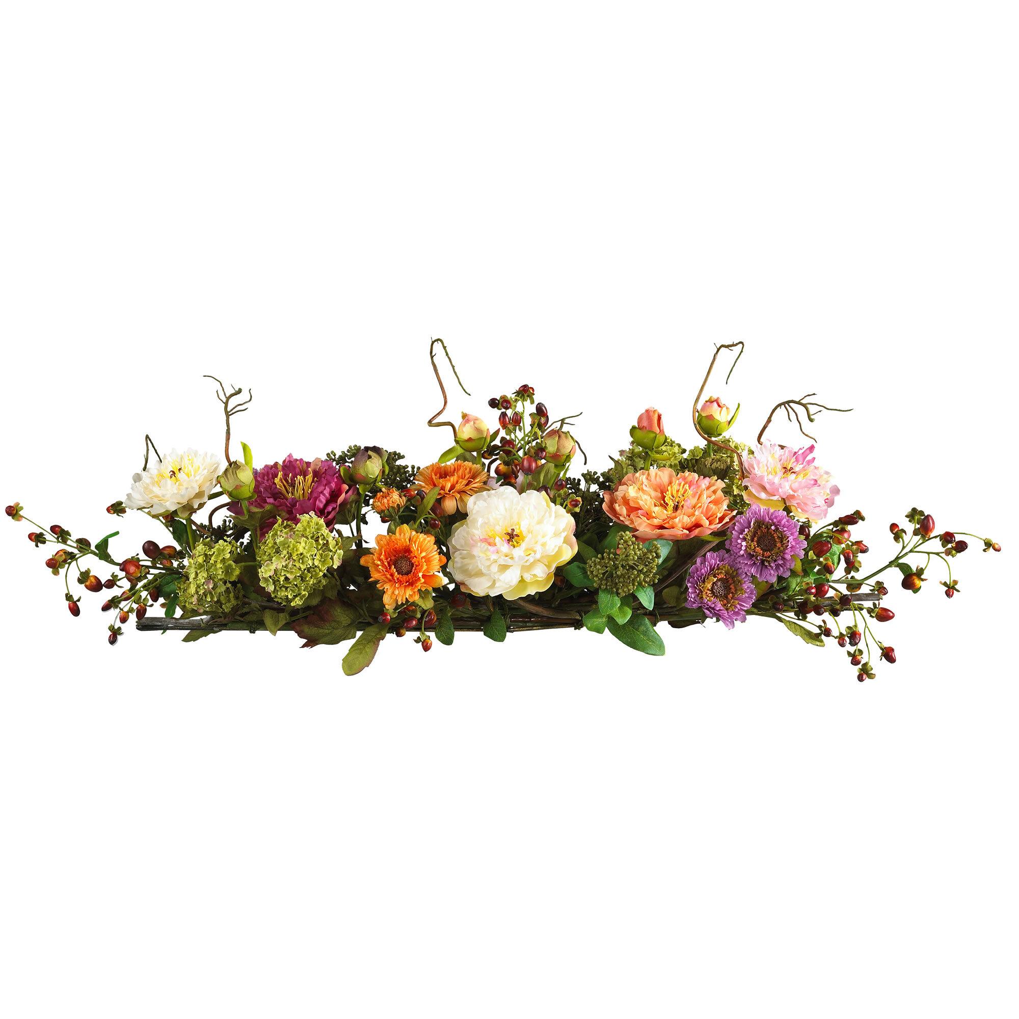 August Grove Silk Flower Mixed Peony Centerpiece Reviews Wayfair