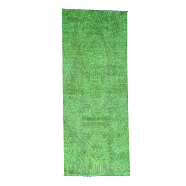 Ikat Overdyed Oriental Hand-Knotted Green Area Rug by Bloomsbury Market