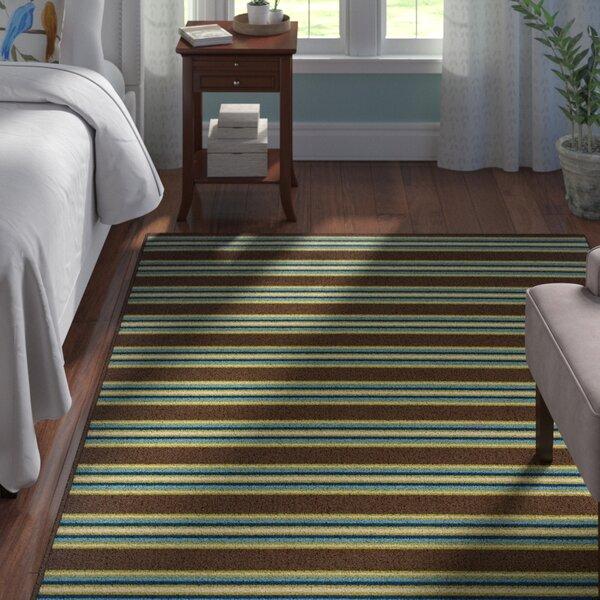 Brendel Brown Striped Indoor/Outdoor Area Rug by Andover Mills