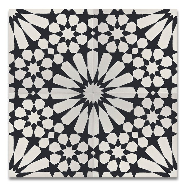 Agdal 8 x 8 Handmade Cement Tile in Black/White by Moroccan Mosaic
