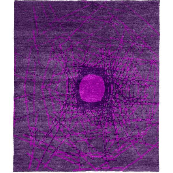 One-of-a-Kind Cherri Hand-Knotted Tibetan Purple 8' Square Wool Area Rug