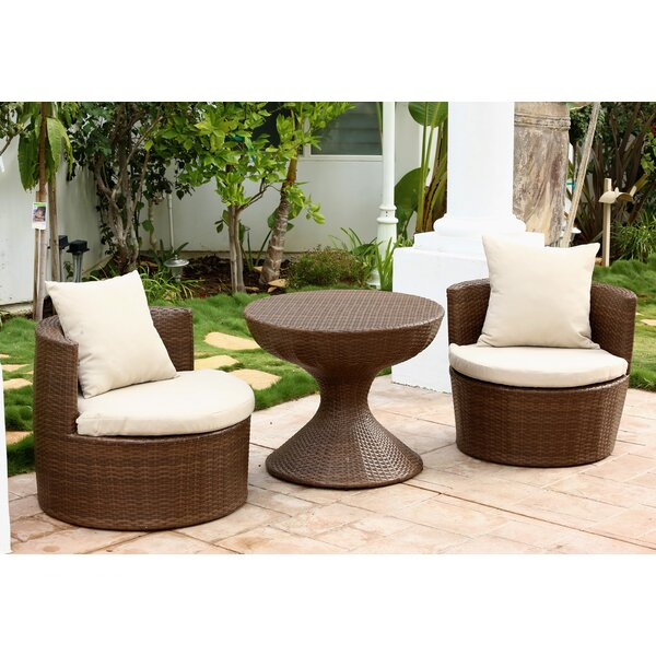 Lisette 3 Piece Rattan Seating Group with Cushions by Wade Logan