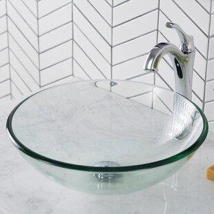 Buy clear Glass Circular Vessel Bathroom Sink By Kraus