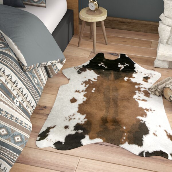 Armor Faux Cowhide White/Brown Area Rug by Loon Pe