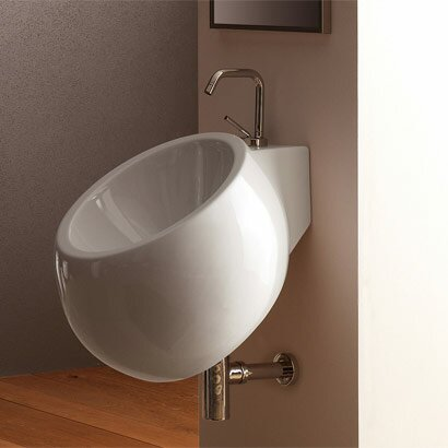 Planet Ceramic 18 Wall Mount Bathroom Sink with Overflow by Scarabeo by Nameeks