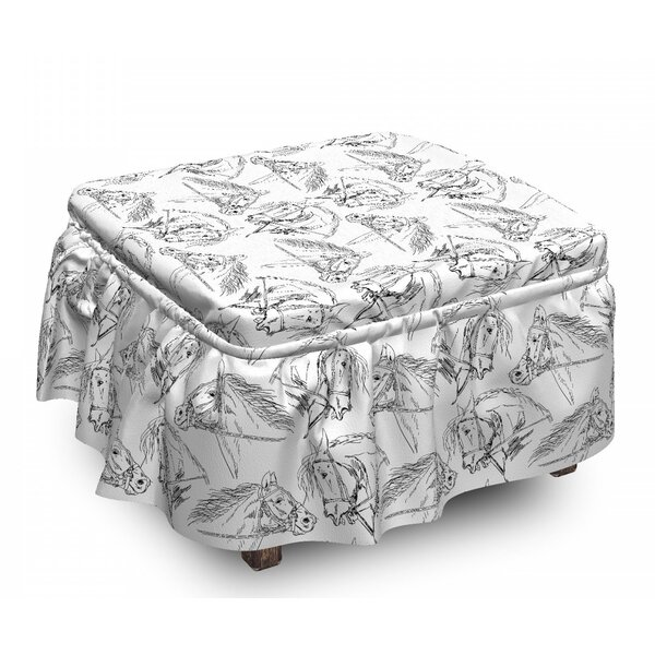 Horses Mare Sketch 2 Piece Box Cushion Ottoman Slipcover Set By East Urban Home