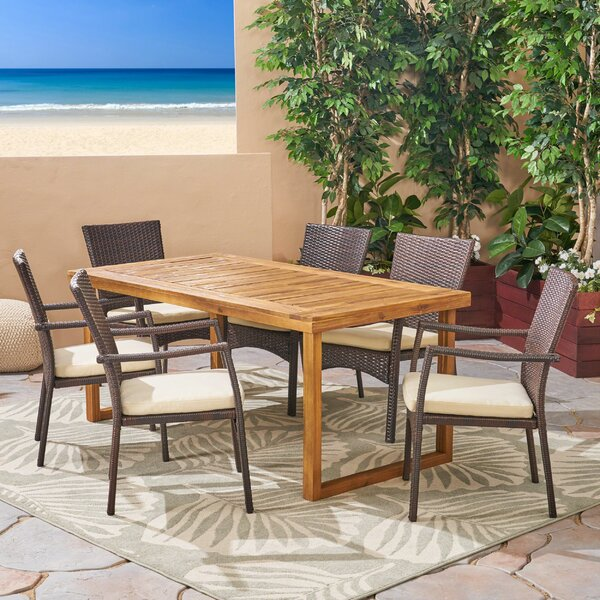 Terese 7 Piece Dining Set with Cushions by Bungalow Rose