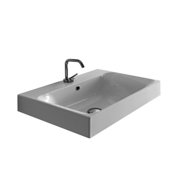 Cento Ceramic 32 Wall Mount Bathroom Sink with Overflow by WS Bath Collections