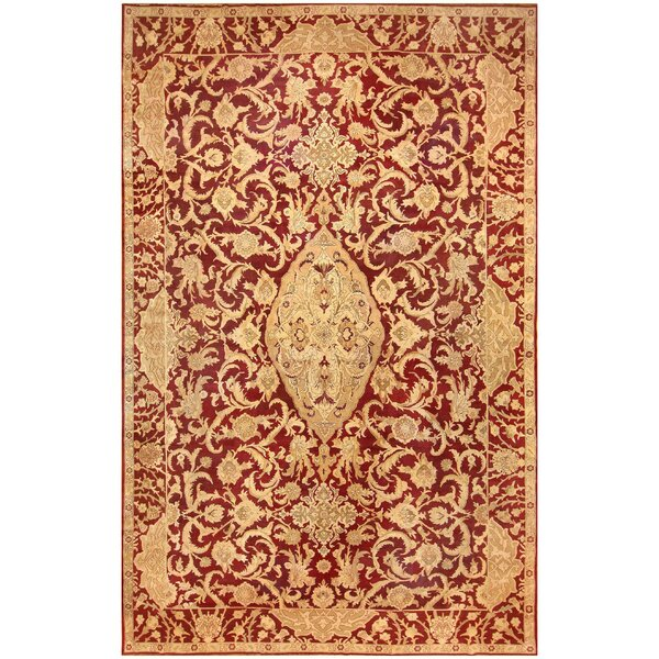 One-of-a-Kind Agra Hand-Knotted Red 14'6 x 21'10 Wool Area Rug