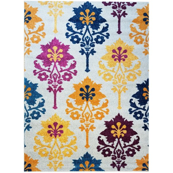 Merissa Transitional Ikat Gray/Yellow Area Rug by Ebern Designs