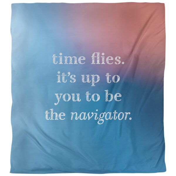 Quotes Time Flies Single Reversible Duvet Cover