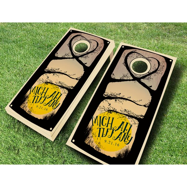 Curious Couple Wedding Stained Cornhole Set by AJJ Cornhole
