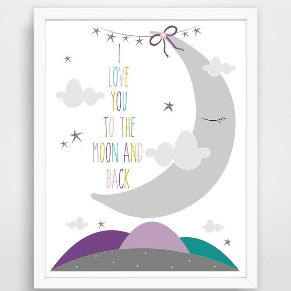 I Love You to the Moon and Back Sleepy Moon Paper Print by Finny and Zook