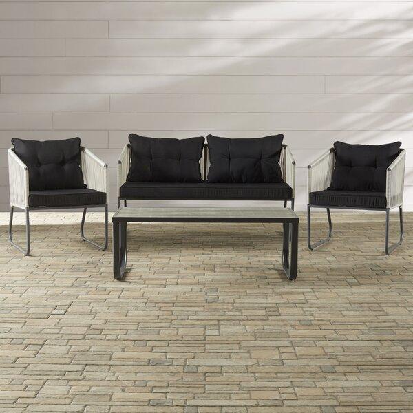 Arriola 4 Piece Sofa Set with Cushions by Mercury Row