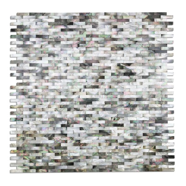 Lokahi Coule Random Sized Glass Pearl Shell Mosaic Tile in Polished Black/Gray/Pearl by Splashback Tile