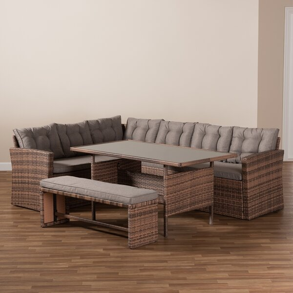 Alvida Studio 4 Piece Rattan Sectional Seating Group with Cushions by Latitude Run