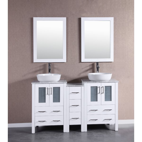Bolzana 60 Double Bathroom Vanity Set with Mirror by Bosconi