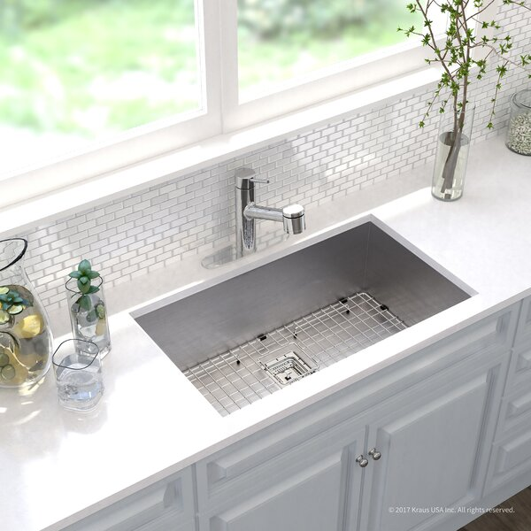 Pax™ Zero-Radius 16 Gauge Stainless Steel 31.5 x 18.5 Undermount Kitchen Sink with Faucet by Kraus