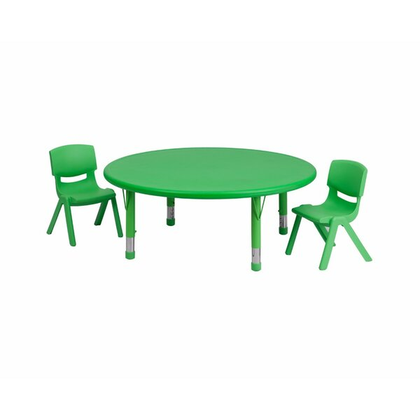 Eunice Adjustable Kids 3 Piece Round Table and Chair Set by Harriet Bee