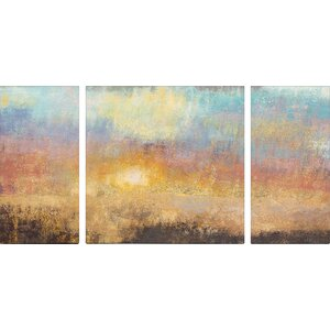 Paradise Sunset Textured Triptych by Studio 212 3 Piece Painting Print on Canvas Set by Andover Mills