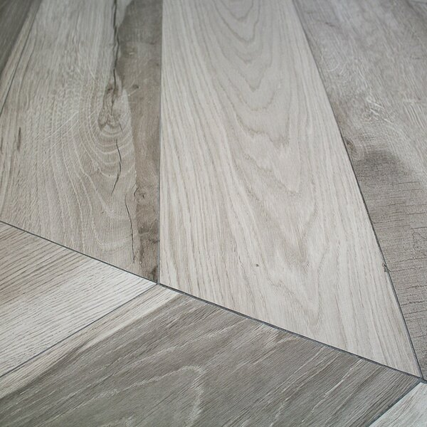 Solorez Chevron 8 x 32 Porcelain Wood Look Tile in Grigio by Splashback Tile