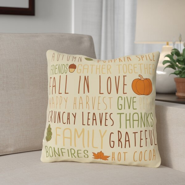 Harvest Word Collage Throw Pillow by The Holiday Aisle