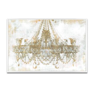Gold Diamonds Framed Graphic Art Print on Canvas by House of Hampton