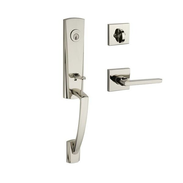 Miami Single Cylinder Handleset with Square Door Lever and Contemporary Square Rose by Baldwin