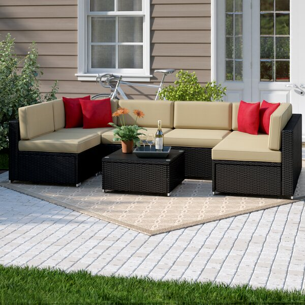 Carmelo 7 Piece Sectional Seating Group with Cushions by Sol 72 Outdoor