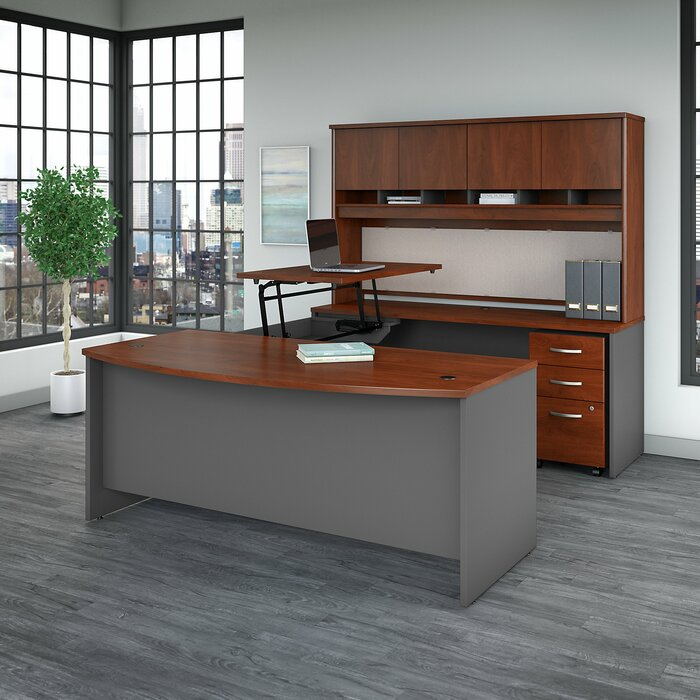 Series C Sit to Stand Height Adjustable U Shaped Standing/Executive Desk  with Hutch
