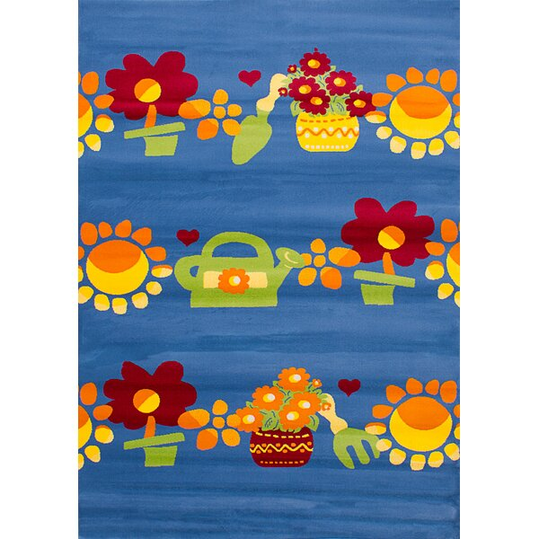 Luann Blue Flowers Area Rug by Zoomie Kids