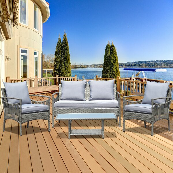 Austin 4 Piece Rattan Sofa Seating Group with Cushions by Wrought Studio