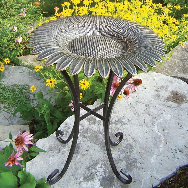 Sunflower on Tower Base Birdbath by Oakland Living