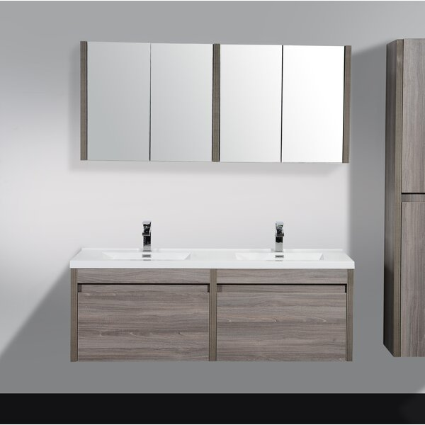 Rosas 59 Wall-Mounted Double Bathroom Vanity by Wrought Studio