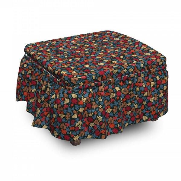 Autumn Fern Foliage 2 Piece Box Cushion Ottoman Slipcover Set By East Urban Home