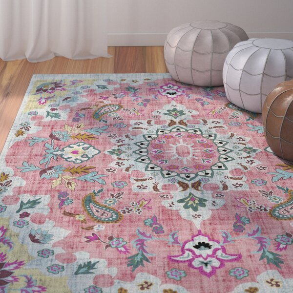 Dante Pink/Blue/Yellow Area Rug by Bungalow Rose