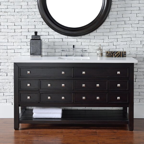 Kramer 60 Single Cerused Espresso Oak Wood Base Bathroom Vanity Set by Darby Home Co