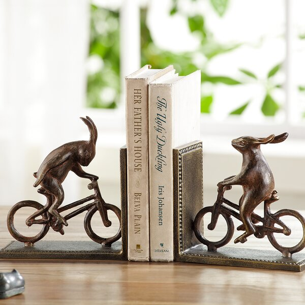 Bunnies on Bikes Book Ends (Set of 2) by SPI Home