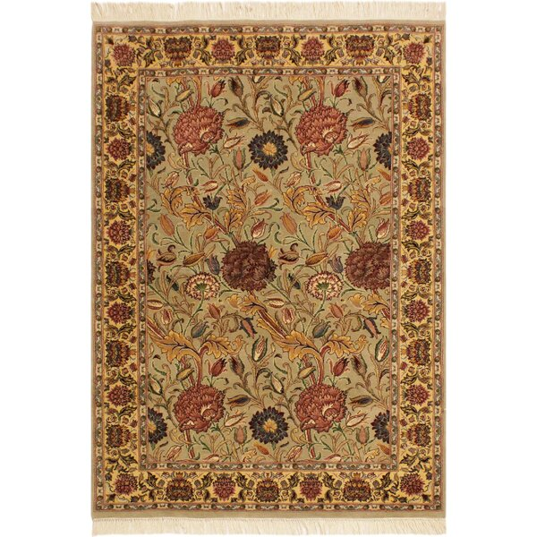 One-of-a-Kind Aaralyn Hand-Knotted Wool Light Tan/Blue Area Rug by Isabelline