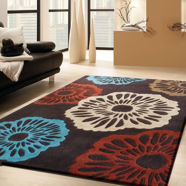 Stabler Transitional Hand-Tufted Brown/Red/Blue Area Rug by Red Barrel Studio