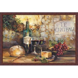 'Le Chateau Wines/Cheese/Grapes/Bread/Country Tuscan' by Marilyn Hageman Framed Painting Print by Fleur De Lis Living