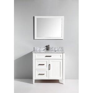 carrara marble 36 single bathroom vanity with mirror