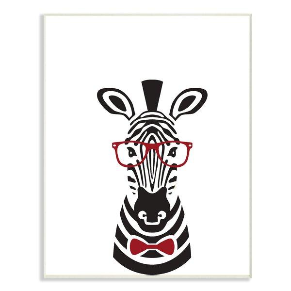 Hipster Zebra Illustration Oversized Graphic Art Print by Stupell Industries