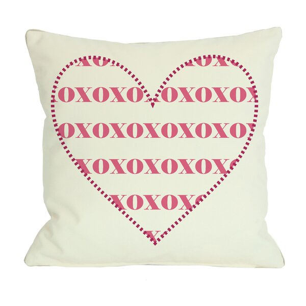XOXO Heart Throw Pillow by One Bella Casa