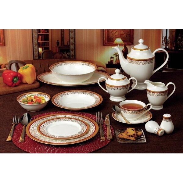 Bone China 57 Piece Dinnerware Set, Service for 8